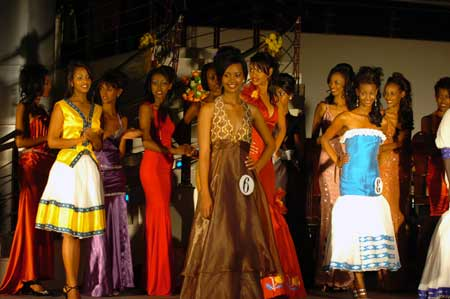 Girls attend the finals of the Miss Ethiopia 2009 Beauty Pageant in Addis Ababa, capital of Ethiopia, Jan. 18, 2009. Chuna Okaka won the title of Miss Ethiopia 2009.
