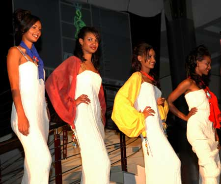 Girls attend the finals of the Miss Ethiopia 2009 Beauty Pageant in Addis Ababa, capital of Ethiopia, Jan. 18, 2009