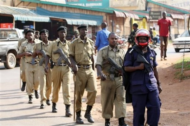 Ugandan armed police patrol the streets of Kampala, Uganda