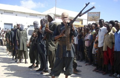 Hardline Somali Islamist insurgents from Hisbul Islam parade with their weapons in the streets of Somalia's capital Mogadishu