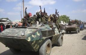 Members of the hardline al Shabaab Islamist rebel group parade through the streets of Somalia's capital Mogadishu