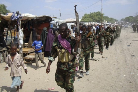 Members of the hardline al Shabaab Islamist rebel group parade through the streets of Somalia's capital Mogadishu
