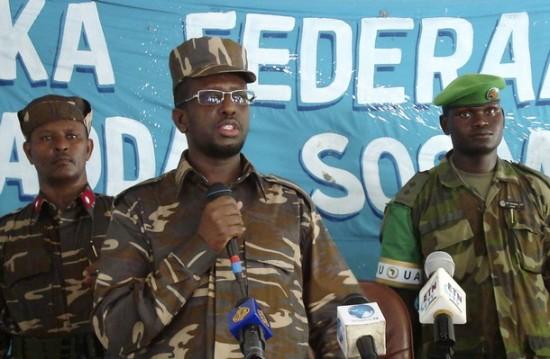 Somalia's President Sheikh Sharif addresses the navy forces in the capital Mogadishu
