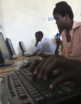 Internet users surf at a cyber cafe in Elasha Biyaha neighbourhood in the outskirts of Somalia's capital Mogadishu