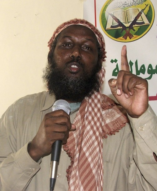 The spokesman of the hardline Al-Shabaab Islamist group Sheikh Rage addresses supporters in Somalia's capital Mogadishu