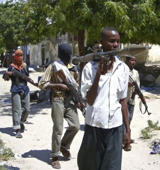 Hardline Somali Islamist insurgents from Hisbul Islam patrol the streets of the capital Mogadishu