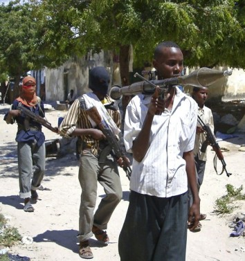 Hardline Somali Islamist insurgents from Hisbul Islam patrol the streets of the capital Mogadishu