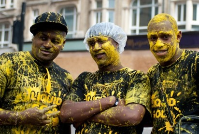 It was a windy, drizzly day for Children's Day at Notting Hill Carnival but it didn't dampen spirits. -- London's Notting Hill Carnival kicked off with Children's Day on Sunday 28th August, 2010. There was, however, evidence of much revelry the night before, with paint splatters along the route and still on some participants. London, UK. 29/08/2010