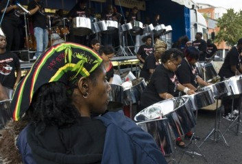 Steel bands gather in West London to compete in the Panorama Championships and to begin the festivities in this year Notting Hill carnival weekend. Notting Hill, London, England. 28/08/2010