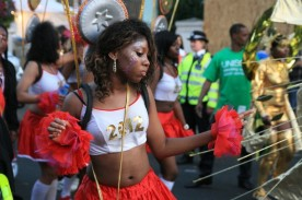 A dancer at the Notting Hill Carnival. London, UK, 30/08/2010 -- Dancers paraded through the streets of Notting Hill in West London during the annual multicultural street festival. London, UK. 30/08/2010