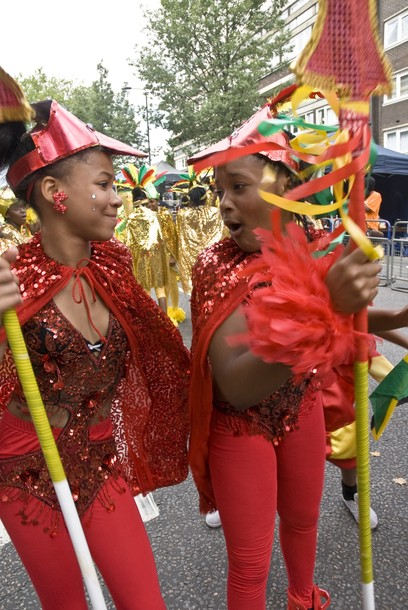 Dancers from the Mythical Bird of paradise Float. Notting Hill, London, England. 29/08/2010 -- The vibrancy, costumes and colour from the Notting Hill Carnival 2010. Notting Hill, London, UK. 29/08/2010